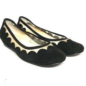Tahari suede/mesh low height wedge heel
